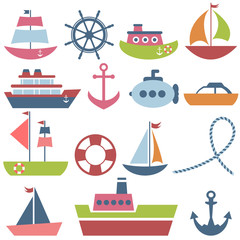 Colorful sea transport set