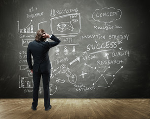 Businessman In Front a Board with Business Concept