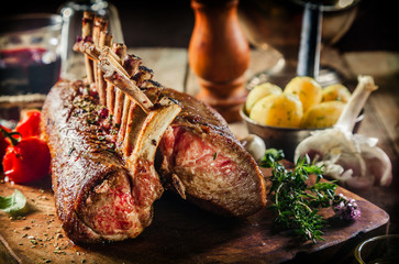 Roasted Rack of Lamb with Fresh Ingredients