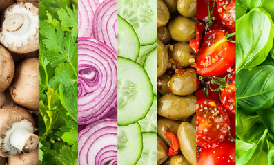Fresh vegetables in a colorful collage background