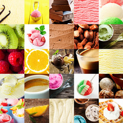 Italian ice cream and dessert collage