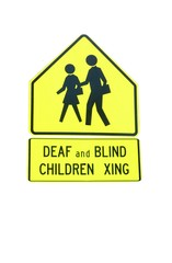Deaf and Blind Children Crossing sign isolated