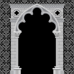 Gothic arch on vintage background