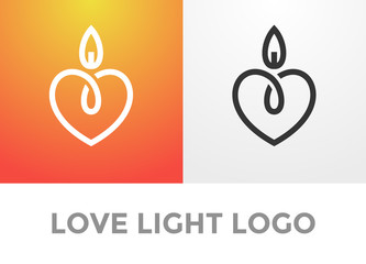 Heart candle light logo