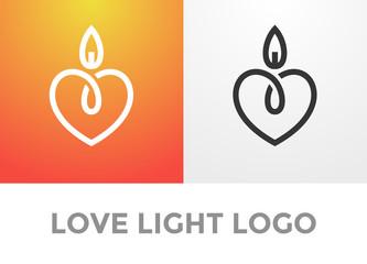 Heart candle light logo