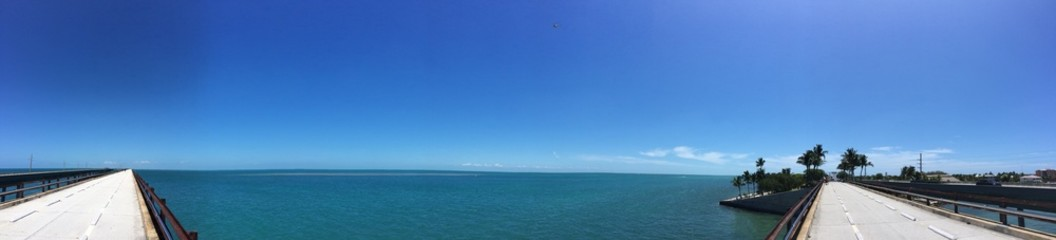 Panorama of the old Seven Mile Bridge on the keys in Florida