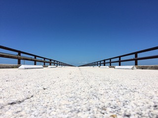 Low angle of the old Seven Mile Bridge on the Florida Keys