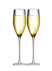 Glass of Champagne Vector Illustration