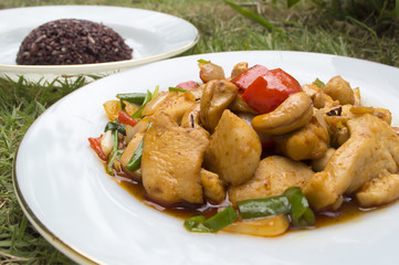Thai food,stir fired chicken with cashew nuts and rice berry