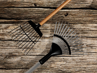 Rakes isolated on old wood background