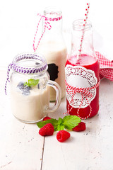 Healthy smoothie drinks and milk shake with fruits