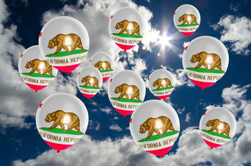 many balloons with california flag on sky