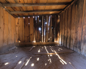 Interior of a Rustic Old Wooden Barn