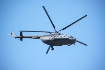 Military helicopter landing.