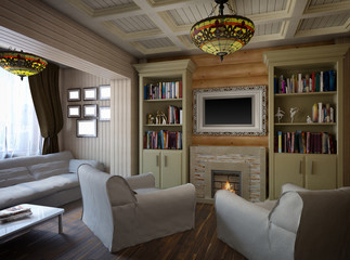 3D illustration of interior design of a bedroom in the house fro