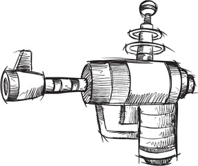 Doodle Sketch Gun Vector Illustration Art