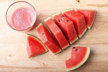 Healthy watermelon smoothie and fresh watermelon