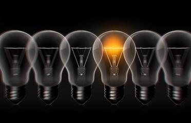 idea light bulb focus and blur