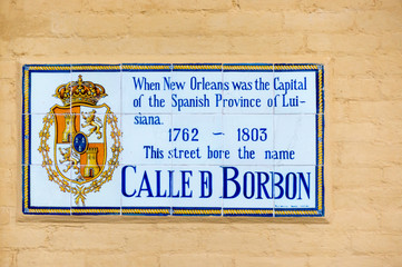 Bourbon Street Name Sign while Under Spanish Rule.