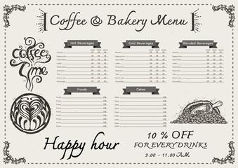 Hand drawn coffee menu design template.