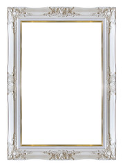 Frame white and gold copper vintage isolated background.