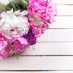 Background with fresh peonies  pink and white flowers