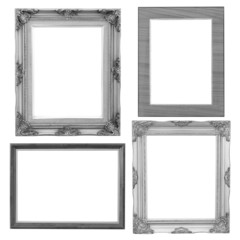 Set of silver frame and wood vintage isolated on white backgroun