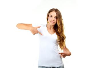 Young beautiful girl in white shirt