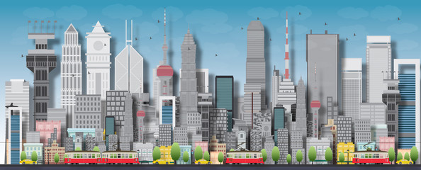 Big city with skyscrapers and small houses