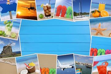 Rahmen aus Fotos vom Urlaub mit Strand, Sommer und Textfreiraum