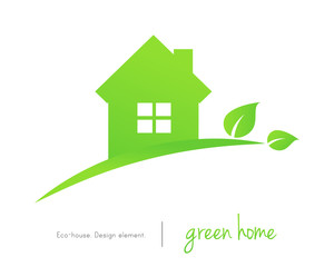 Green home concept with leaves