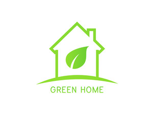 Green home logo concept with a leaf