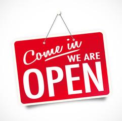 """""""We're open"""" sign"""