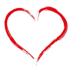 Hand drawn red heart isolated on white background, vector