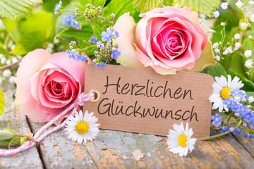 Herzlichen Glückwunsch - Karte mit Blumenstrauß
