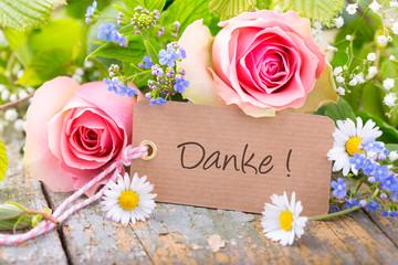 Danke - Grußkarte mit Blumen