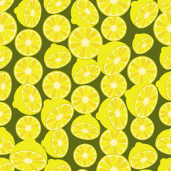 Seamless colorful background made of lemons in flat design