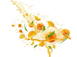 oranges with juice pouring isolated on the white background