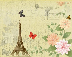Post card of Eiffel tower and flowers on grunge background.