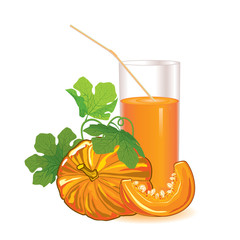 glass of pumpkin juice with a straw