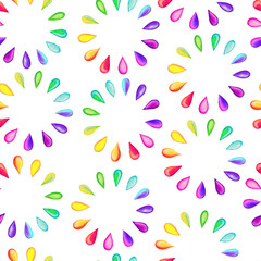 Seamless pattern with rainbow drops.