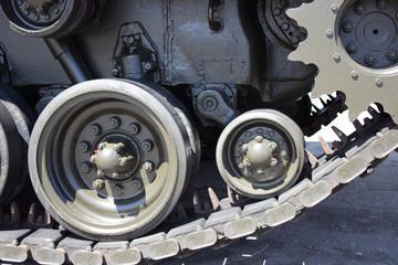 Tank close-up with wheel, caterpillar.  American tank.