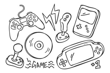 hand drawn video games console