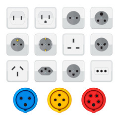 flat style colored home industrial power socket types icon colle