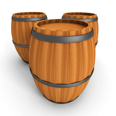 Three Old Wooden Barrels On White Background