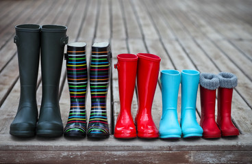 Five pairs of a colorful rain boots