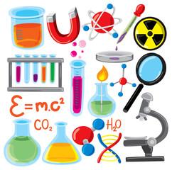 set of science stuff icon