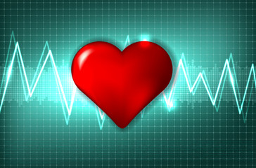 Abstract cardiogram and heart