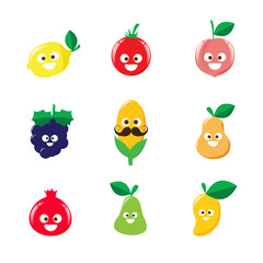 Collection of happy fruit cartoon icon vector illustration 002