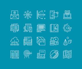 Marketing development line icons set